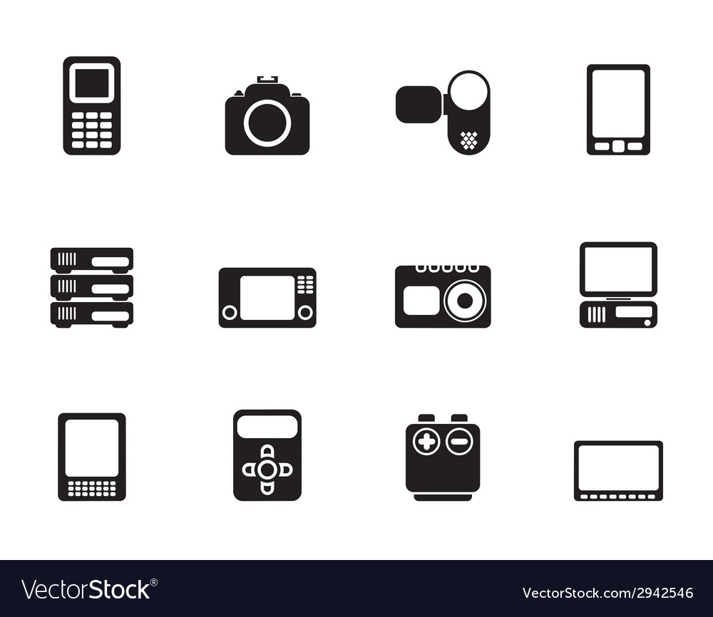 Silhouette media and electronics icons vector | Price: 1 Credit (USD $1)