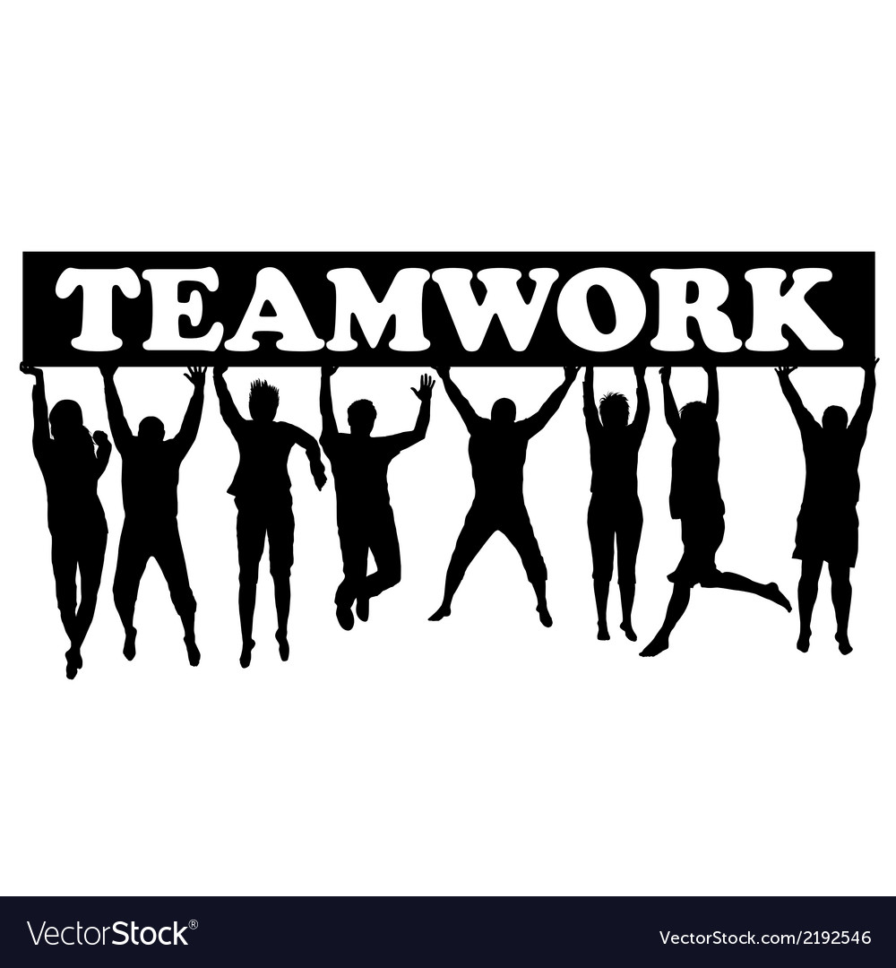 Teamwork concept with men and women jumping vector | Price: 1 Credit (USD $1)