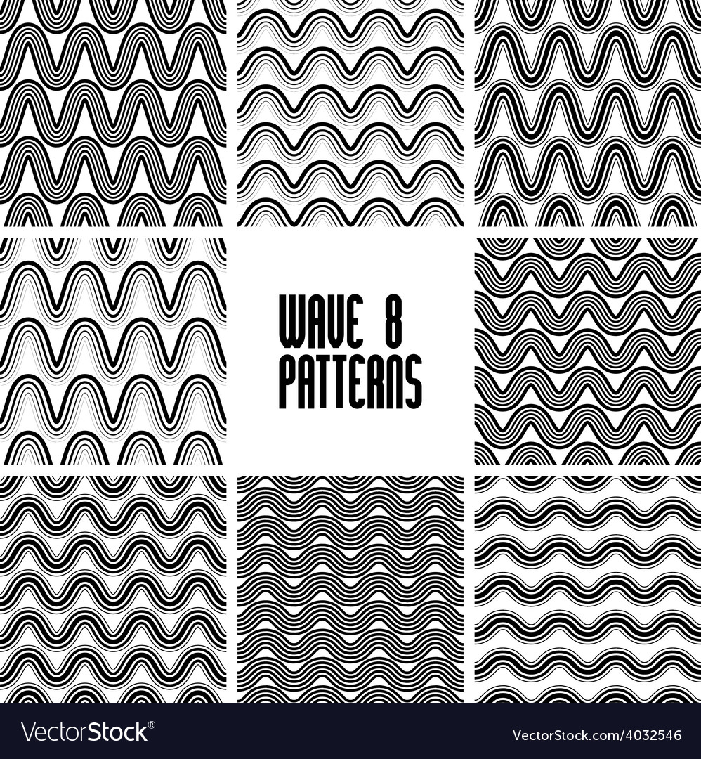 Waves black and white seamless patterns set vector   Price: 1 Credit (USD $1)