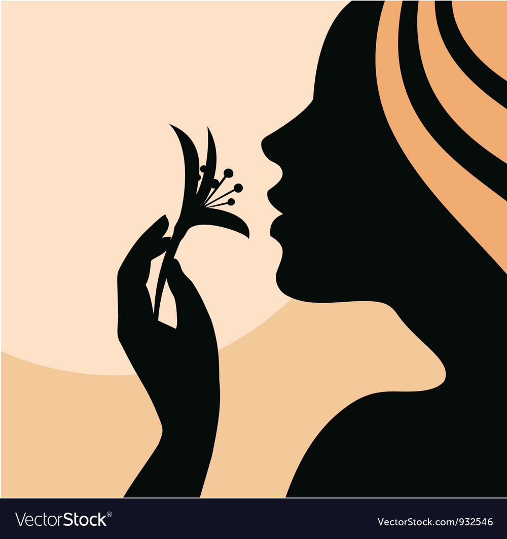 Woman with flower in hand vector | Price: 1 Credit (USD $1)
