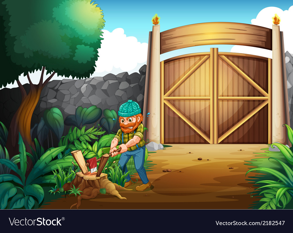 A woodman chopping woods vector | Price: 3 Credit (USD $3)