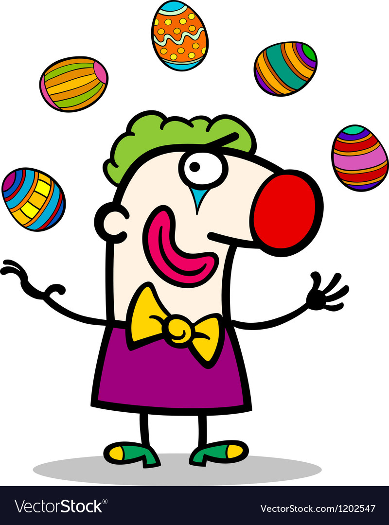 Cartoon clown juggling easter eggs vector | Price: 1 Credit (USD $1)