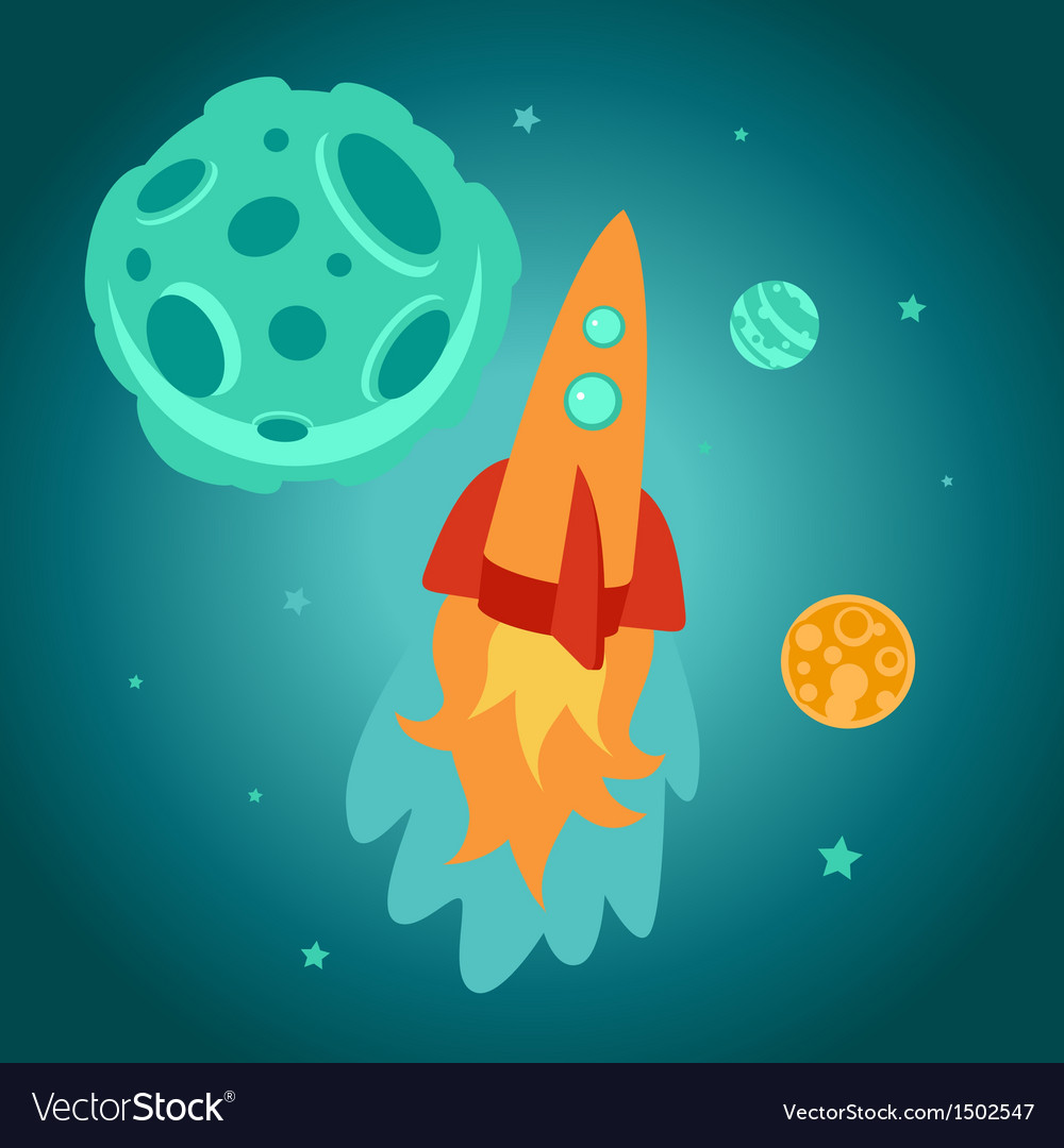 Cartoon space rocket vector | Price: 1 Credit (USD $1)