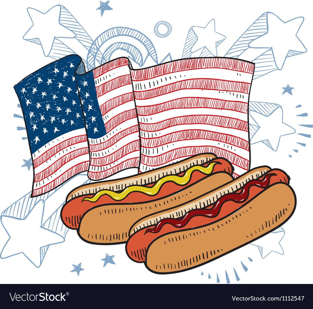 Doodle americana hotdog vector | Price: 1 Credit (USD $1)