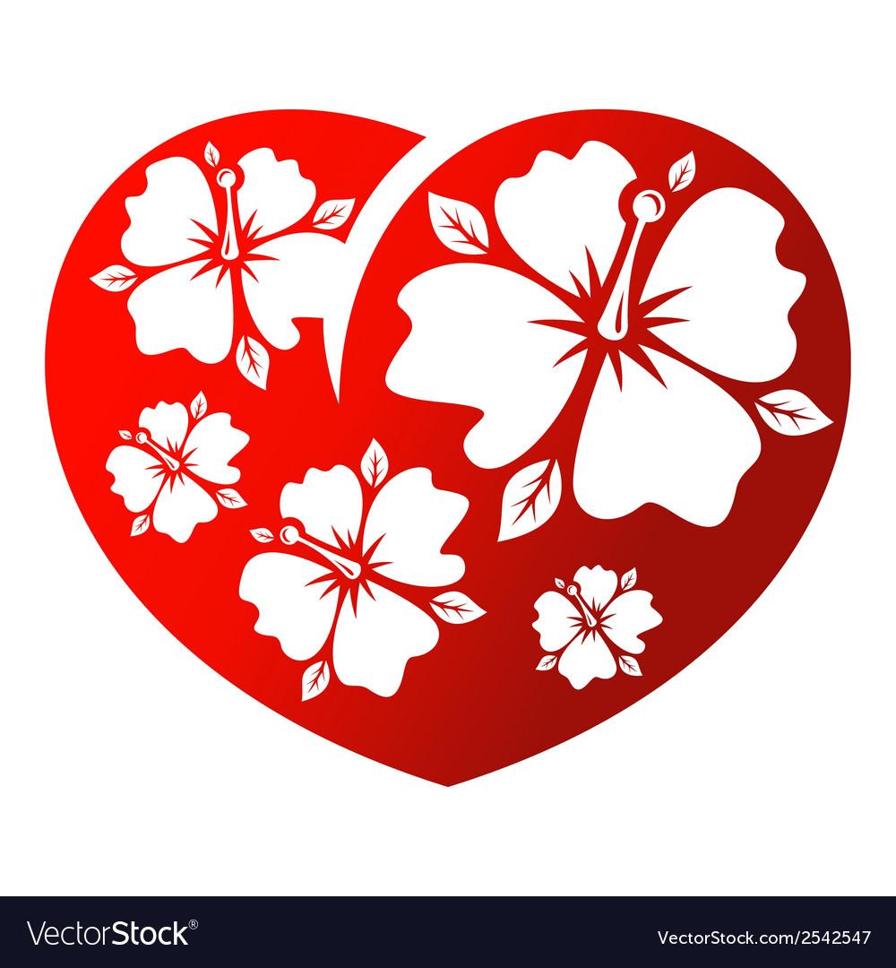 Flower heart vector | Price: 1 Credit (USD $1)