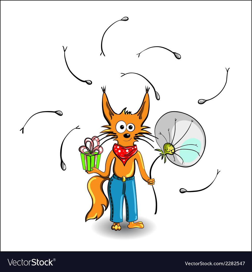 Fox with gift vector | Price: 1 Credit (USD $1)