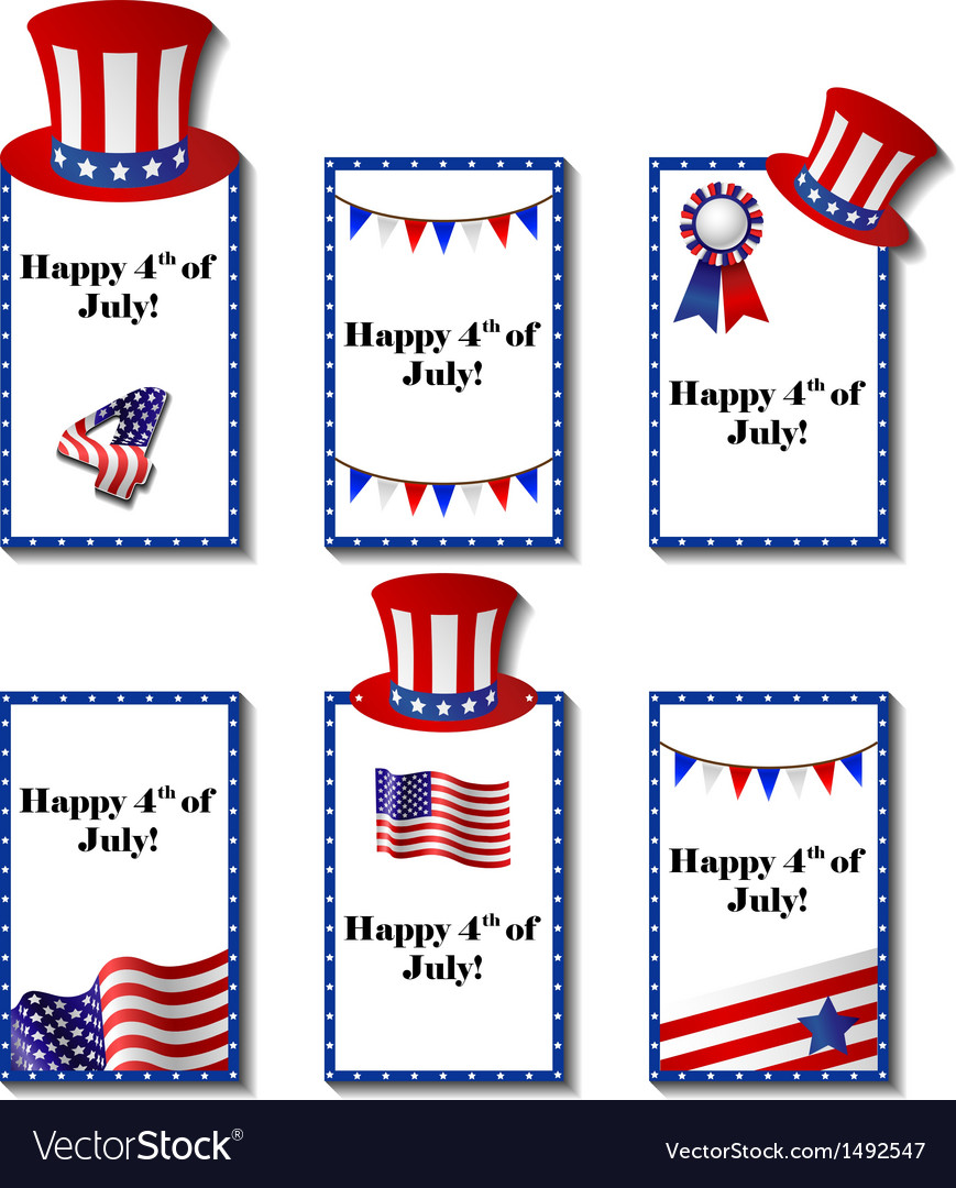 July 4 patriotic card set vector | Price: 1 Credit (USD $1)
