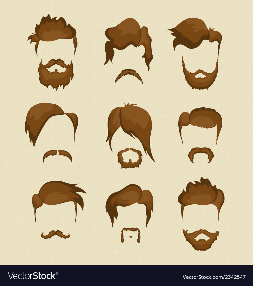 Mustache beard and hairstyle hipster vector | Price: 1 Credit (USD $1)
