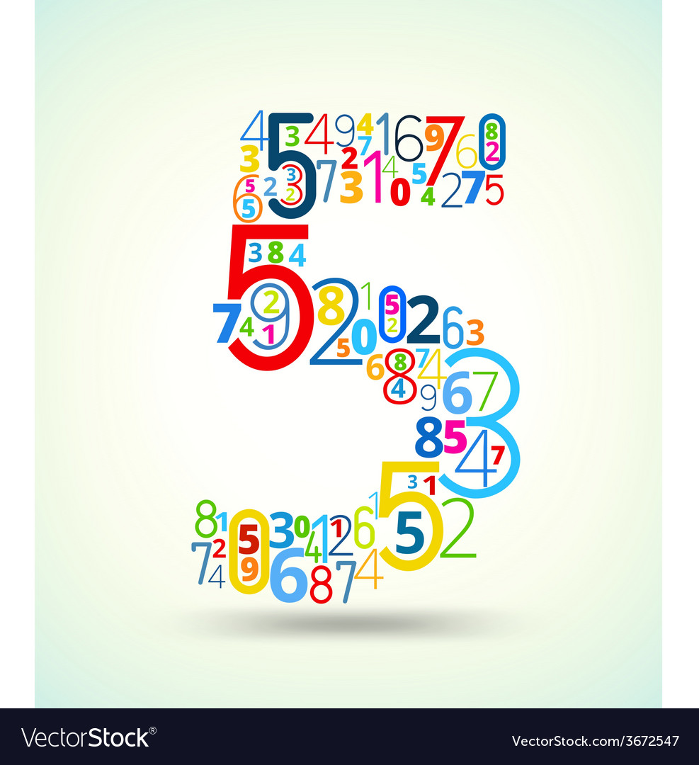 Number 5 colored font from numbers vector | Price: 1 Credit (USD $1)