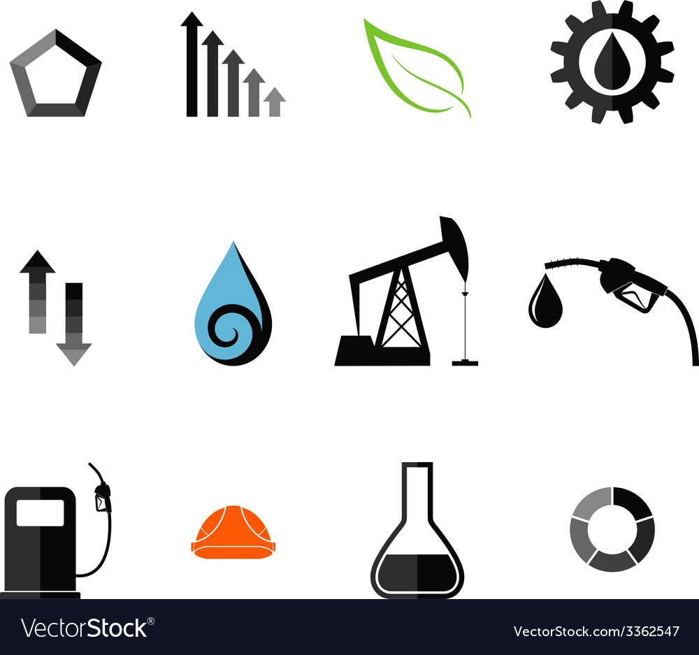 Oil industry icon set vector | Price: 1 Credit (USD $1)