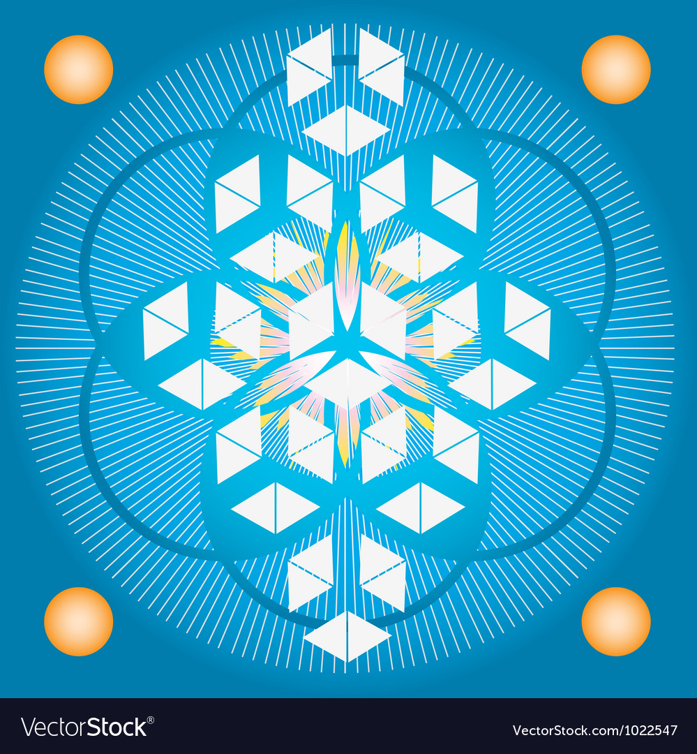 Sacred geometry flower of life blue seed vector | Price: 1 Credit (USD $1)
