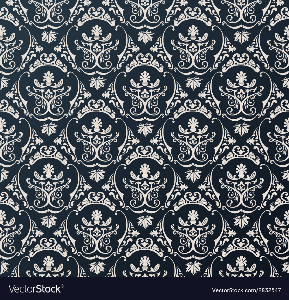 Seamless wallpaper background floral vintage black vector | Price: 1 Credit (USD $1)