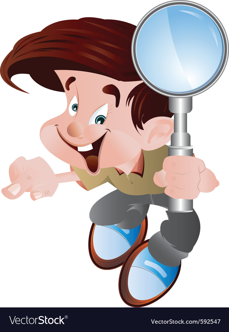 Student holding magnifying glass vector | Price: 3 Credit (USD $3)