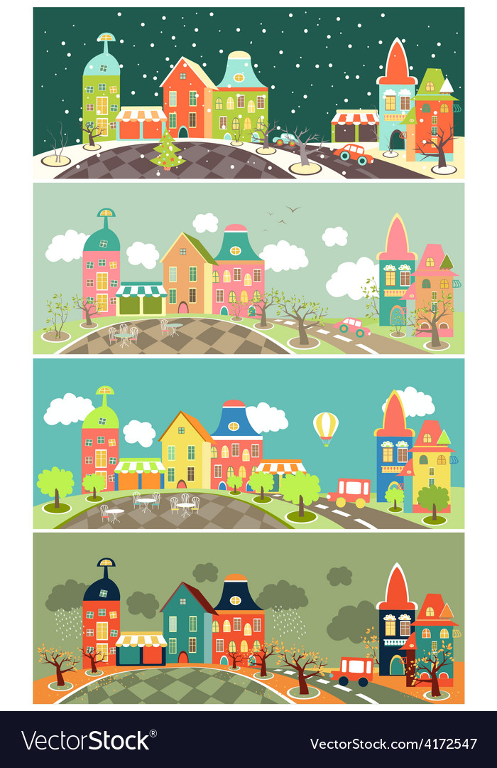 Urban landscape of four seasons vector | Price: 3 Credit (USD $3)
