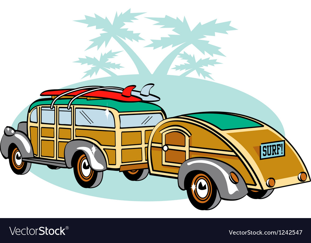 Wooden station wagon with trailer vector | Price: 1 Credit (USD $1)
