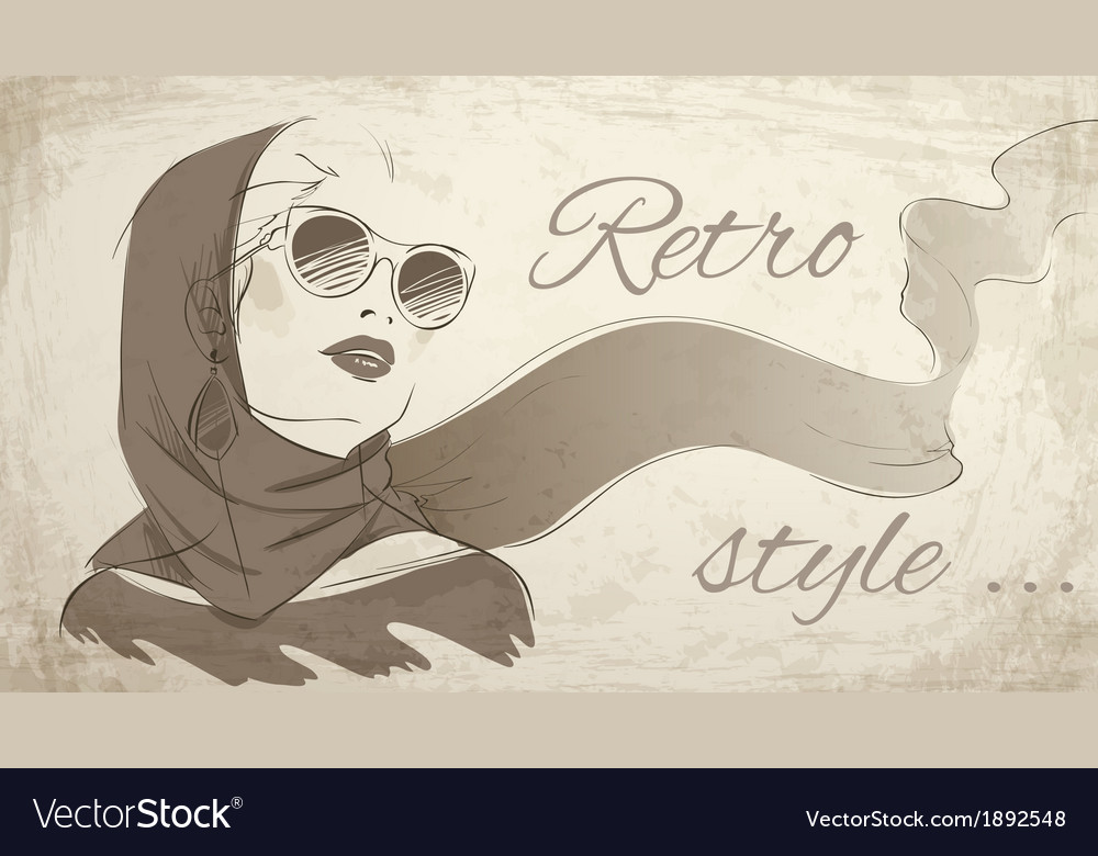 Beautiful retro woman portrait wearing kerchief vector   Price: 1 Credit (USD $1)