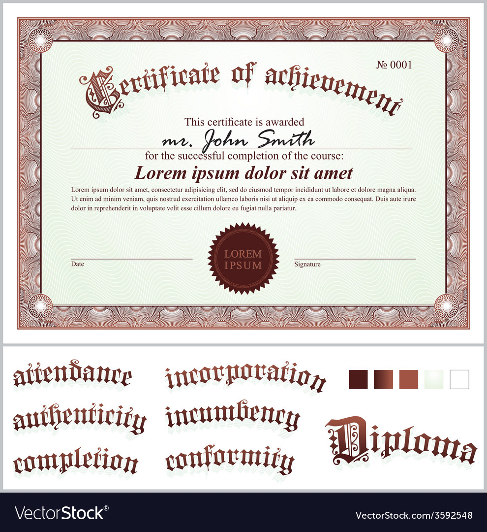 Brown certificate template horizontal additional vector | Price: 1 Credit (USD $1)