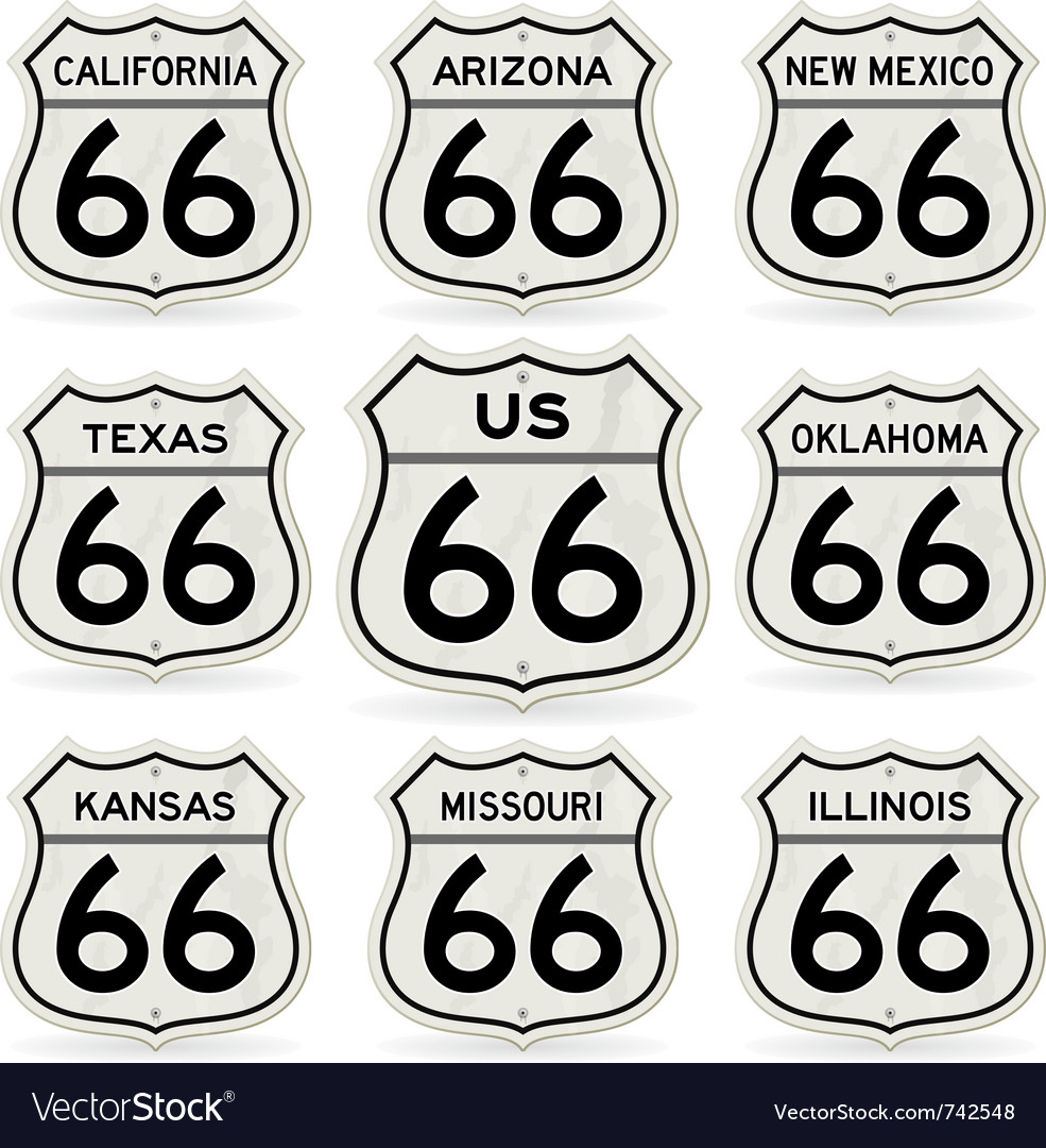 Complete route 66 signs collection vector | Price: 1 Credit (USD $1)