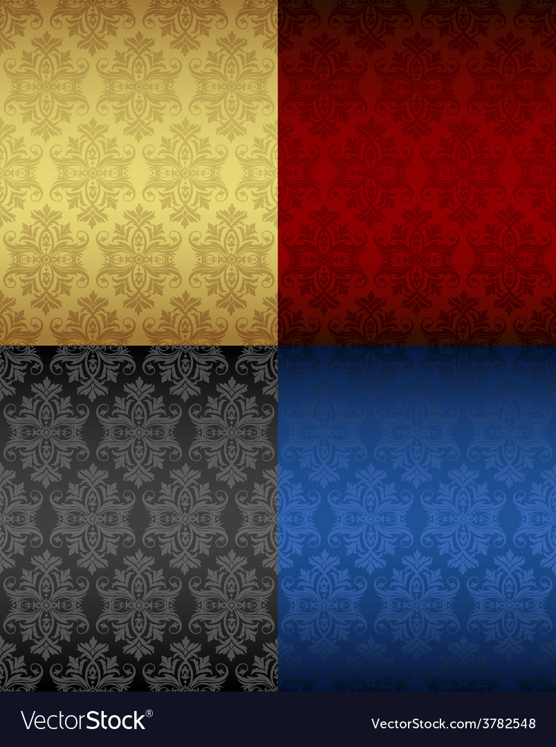 Four luxury seamless floral patterns vector | Price: 1 Credit (USD $1)