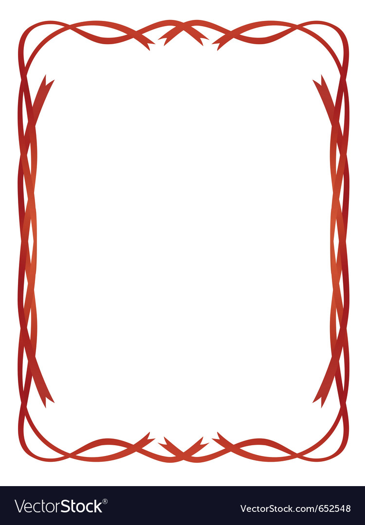 Frame red ribbons pattern isolated vector | Price: 1 Credit (USD $1)