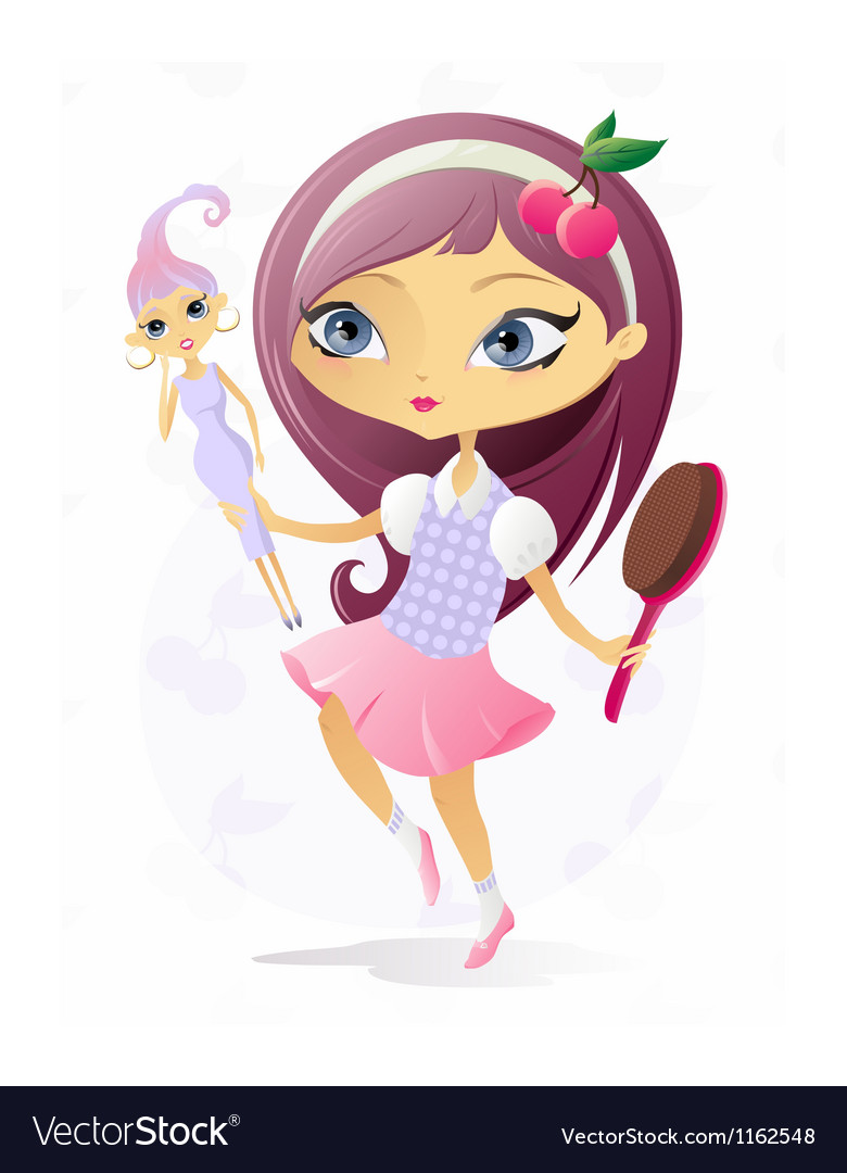 Little girl with doll vector | Price: 5 Credit (USD $5)