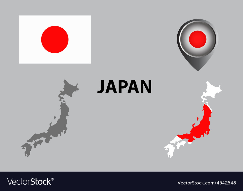 Map of japan and symbol vector | Price: 1 Credit (USD $1)