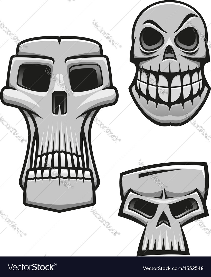 Monster and zombie skulls vector | Price: 1 Credit (USD $1)