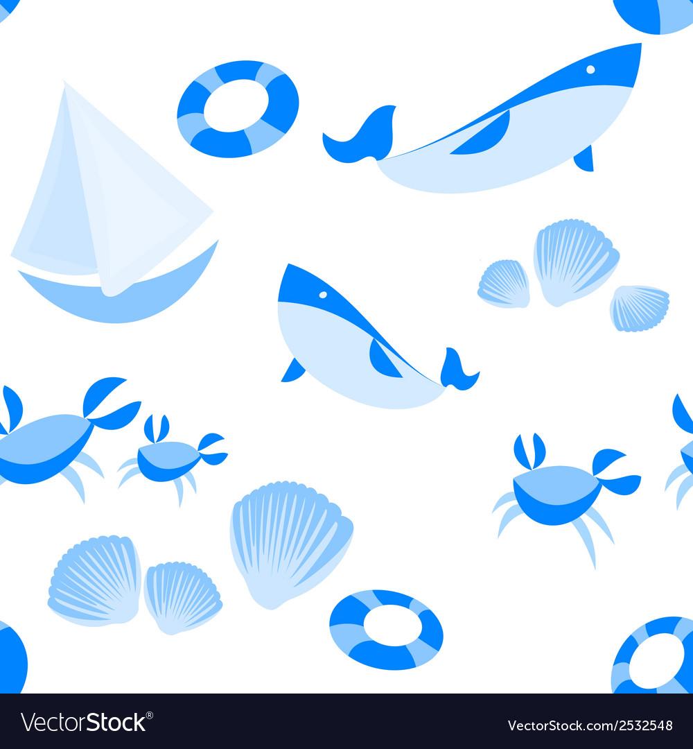 Seamless beach pattern vector | Price: 1 Credit (USD $1)