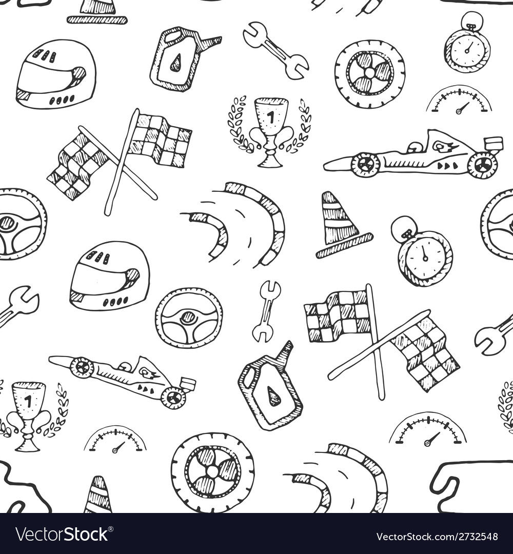 Seamless pattern racing element in a drawing style vector | Price: 1 Credit (USD $1)
