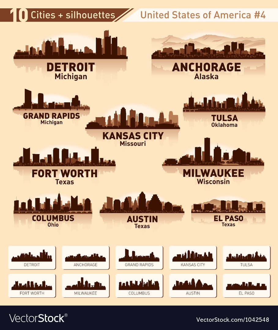 Skyline city set 10 cities of usa 4 vector | Price: 1 Credit (USD $1)