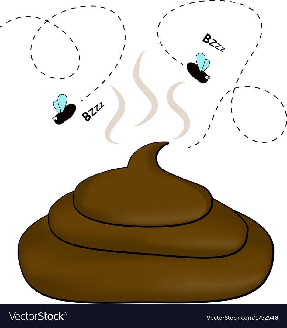 Smelly poop with flies vector | Price: 1 Credit (USD $1)