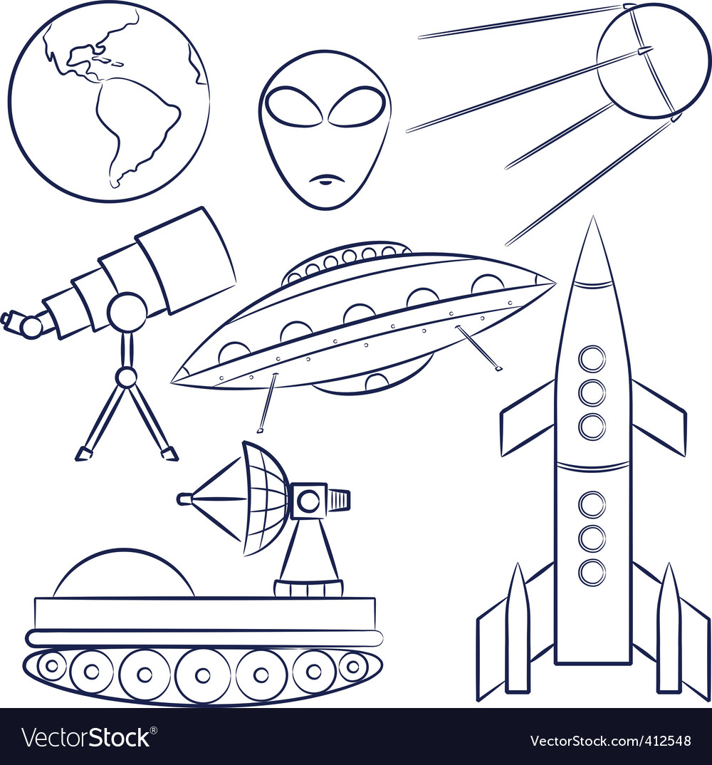 Space objects collection vector | Price: 1 Credit (USD $1)
