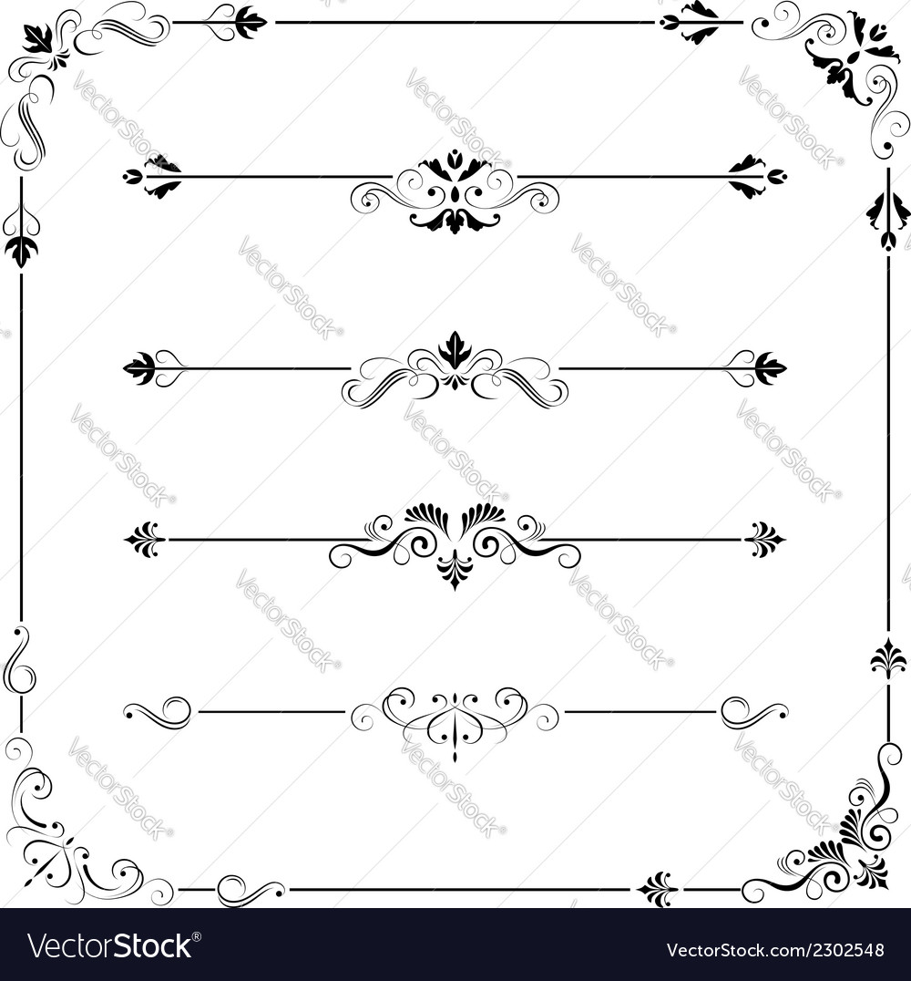 Vintage frame border divider corner vector | Price: 1 Credit (USD $1)