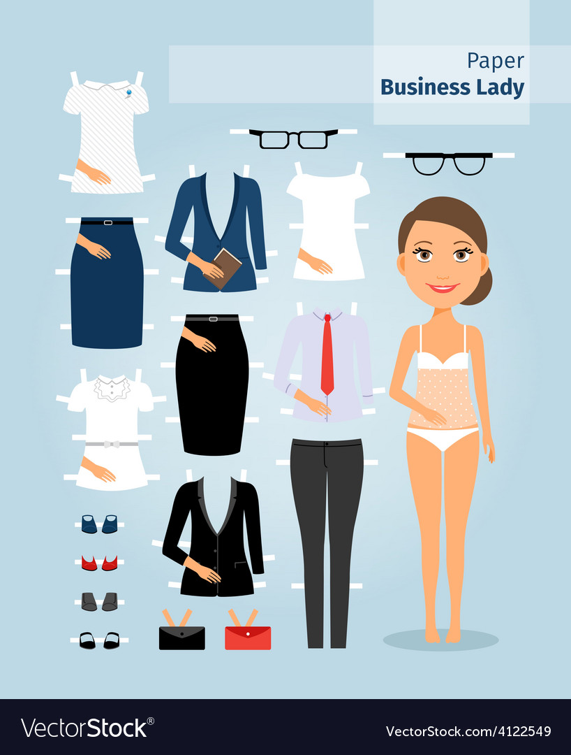 Business lady paper doll cute girl in office vector   Price: 1 Credit (USD $1)