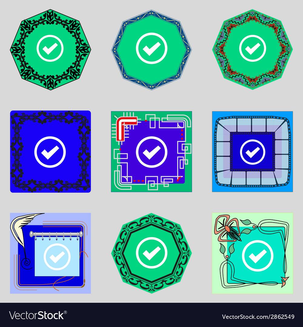 Check mark sign icon checkbox button set colourful vector | Price: 1 Credit (USD $1)