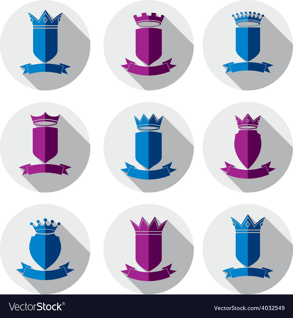 Decorative colorful coat of arms protection theme vector   Price: 1 Credit (USD $1)