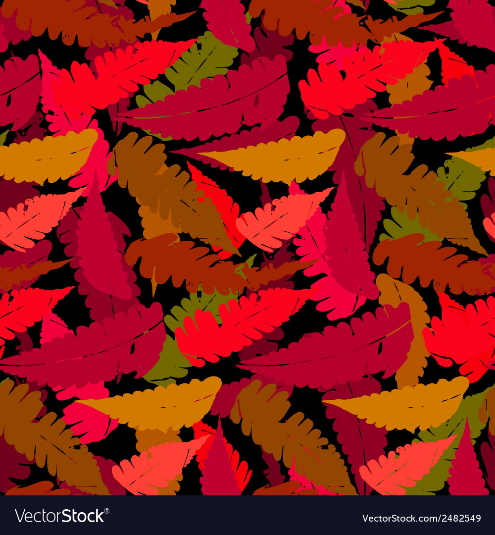 Grunge autumn pattern with fern leafs vector | Price: 1 Credit (USD $1)