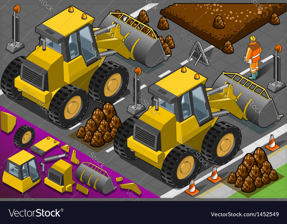 Isometric yellow bulldozer in rear view vector | Price: 1 Credit (USD $1)