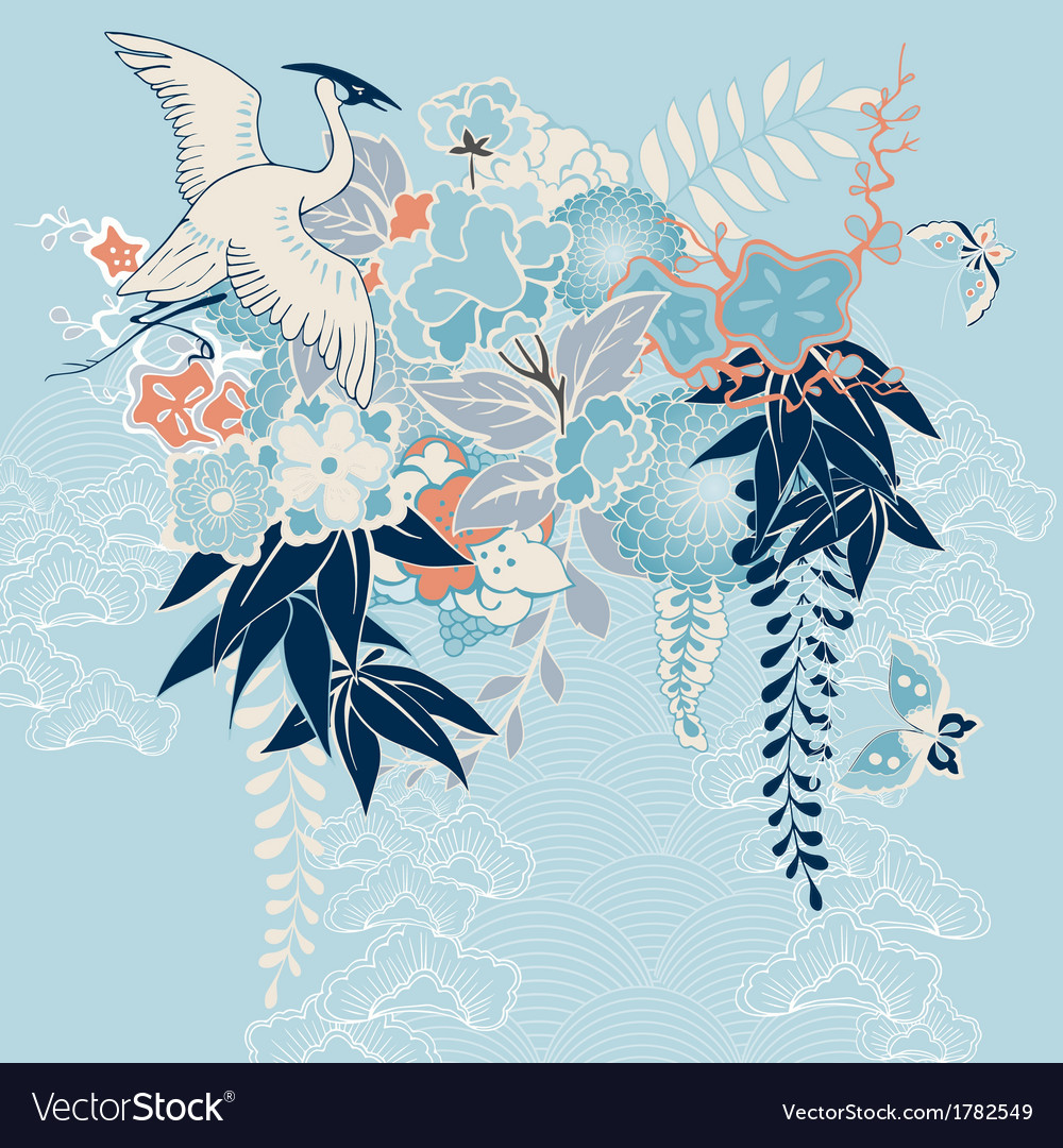 Japanese kimono motif with crane and flowers vector | Price: 1 Credit (USD $1)