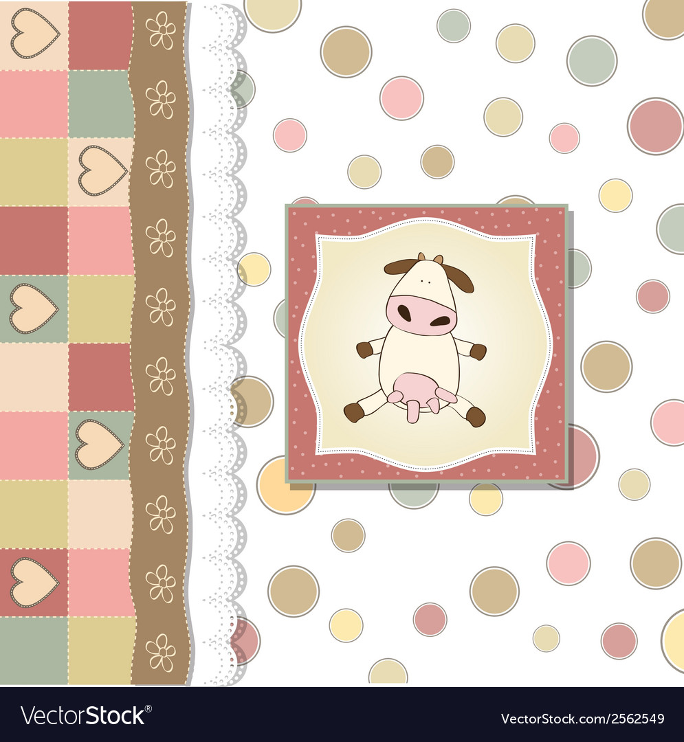 New baby announcement card with cow vector   Price: 1 Credit (USD $1)