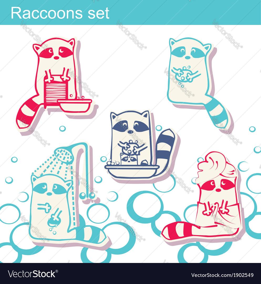 Raccoon cartoon background vector | Price: 1 Credit (USD $1)