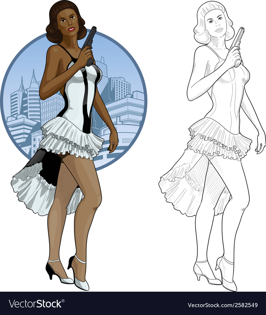 Retro brunette girl mixed race in white and black vector | Price: 1 Credit (USD $1)