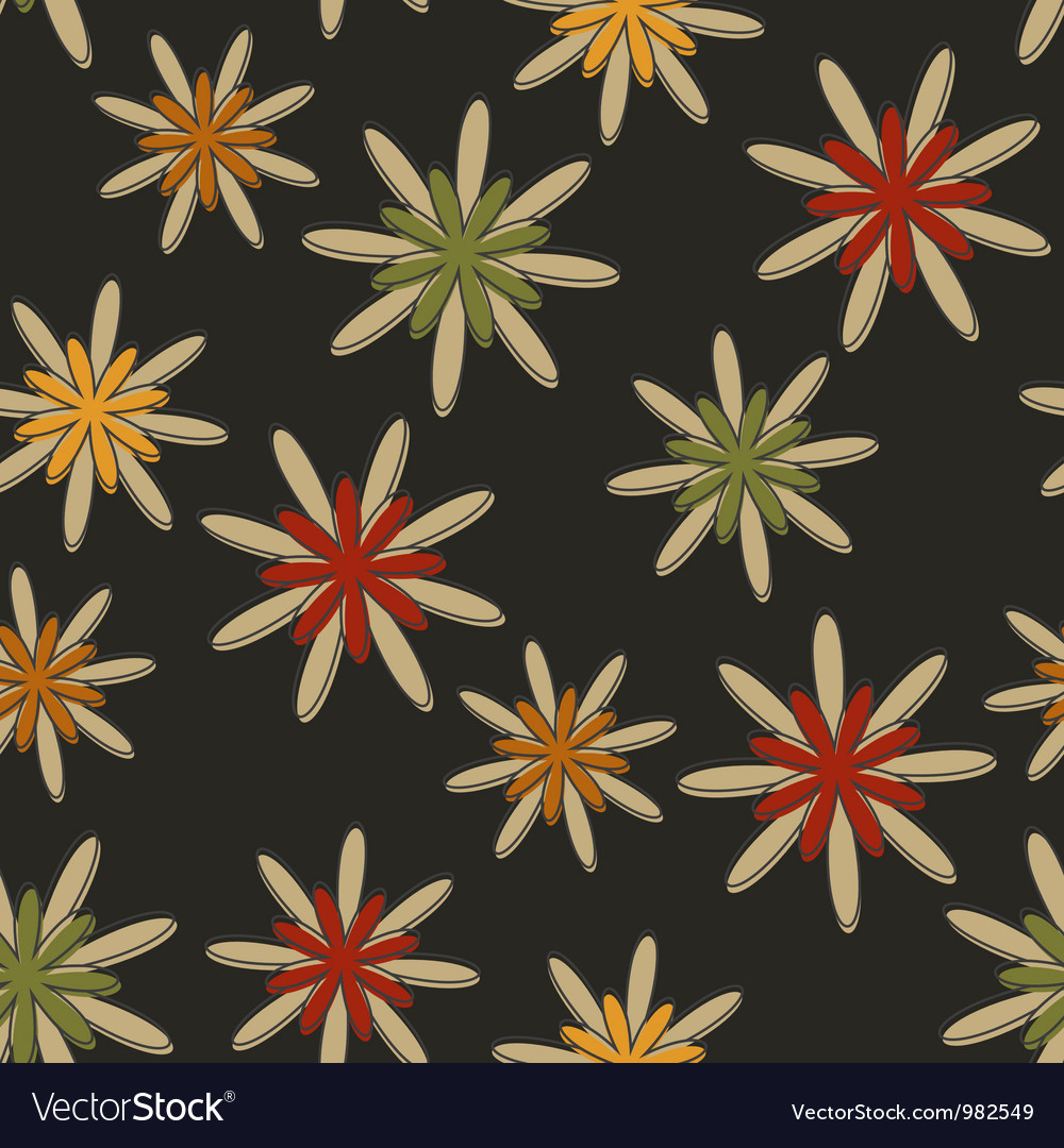 Retro seamless flower background dark vector | Price: 1 Credit (USD $1)