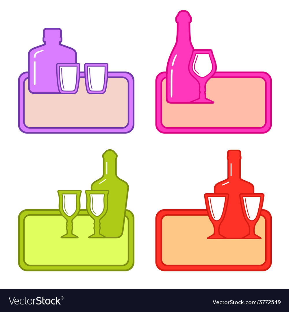 Set alcohol bottles with glasses on colorful tray vector | Price: 1 Credit (USD $1)