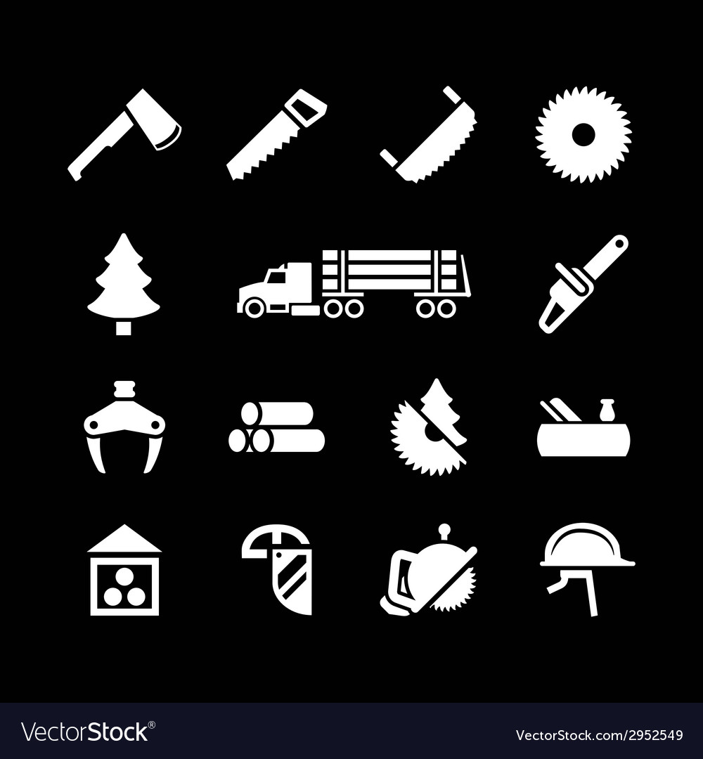 Set icons of sawmill timber and lumber vector | Price: 1 Credit (USD $1)