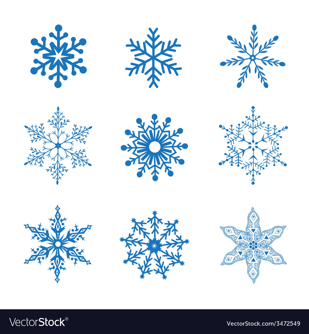 Set of blue snowflakes vector | Price: 1 Credit (USD $1)