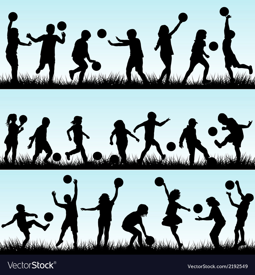 Set of children playing with balls outdoor vector | Price: 1 Credit (USD $1)