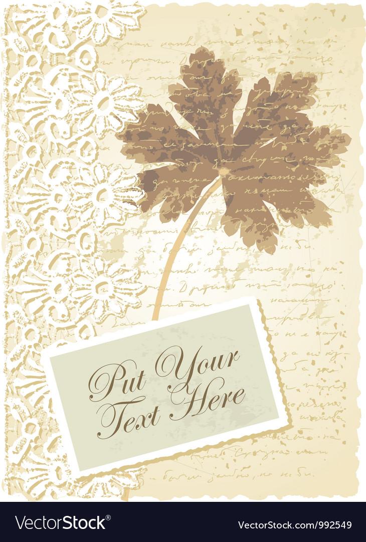 Vintage geranium leaves card vector | Price: 1 Credit (USD $1)