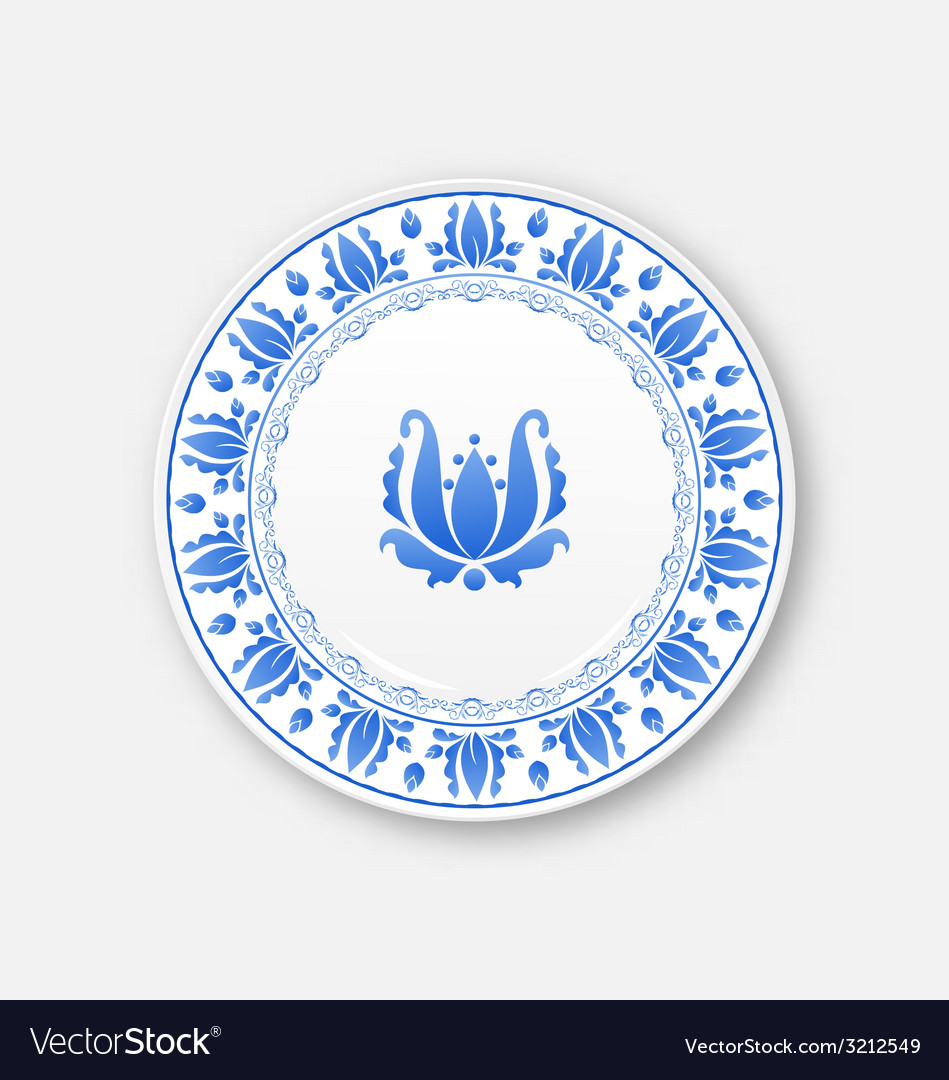 White plate with russian ornament in gzhel style - vector | Price: 1 Credit (USD $1)