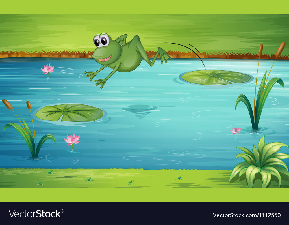 A frog jumping vector